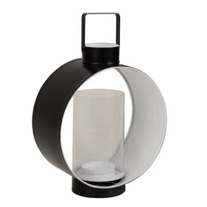 14-in Black and White Metal Round Outdoor Lantern