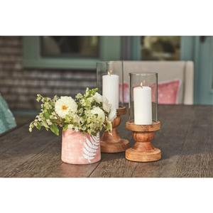 12-in Hurricane Glass Candle Holder with Wood base