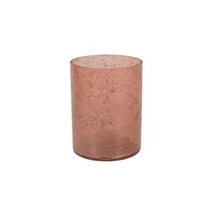 8-in Light Pink Hurricane Glass Candle Holder