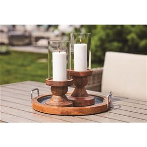 14-in Hurricane Glass Candle Holder with Wood base