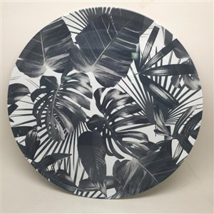 14-in Black and White Melamine Round Platter