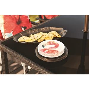 20-in Matte Black Melamine Banana Leaf Tray