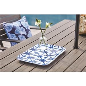 15.5-in White and Blue Rectangle Platter