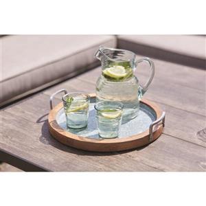 10-in Transparent Green Textured Plastic Drink Pitcher