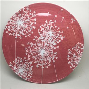 14-in Red and White Melamine Round Platter