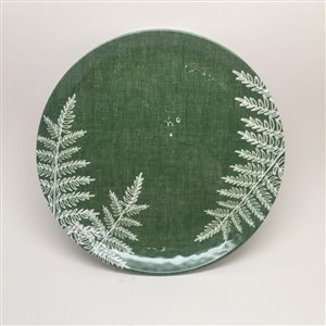 9-in Green Palm Hammered Melamine Salad Plate