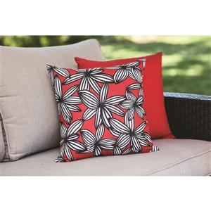 16-in Red Floral Polyester Toss Pillow