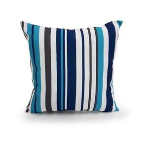 16-in Aqua Stripe Polyester Toss Pillow
