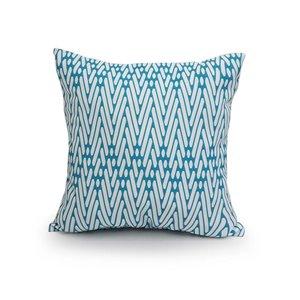16-in Aqua Geo Polyester Toss Pillow