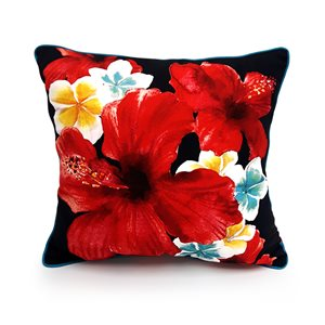 18-in Hibiscus Cotton Toss Pillow
