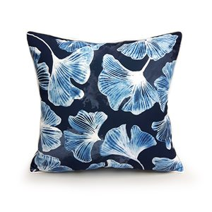 18-in Blue Gingko Cotton Toss Pillow