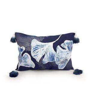 20-in Blue Gingko Polyester Lumbar Pillow