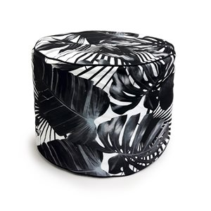 18-in x 14-in Black Palms Polyester  Pouf