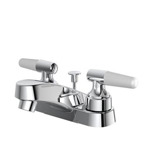 Project Source Chrome 2-Handle 4-in Centerset WaterSense Bathroom Sink Faucet with Drain (Valve Included)