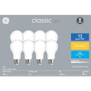 GE 8-Watt A19 LED Soft White Light Bulb (8-Pack)