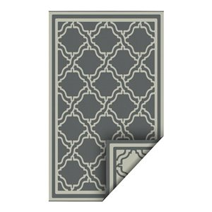 5-ft x 7-ft Grey Geometric Pure Plastic Outdoor Area Rug