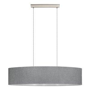 EGLO Mandana Large Pendant Light, Matte Nickel Finish with Grey and Silver Fabric Shade