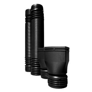 MOLE-Pipe 6-ft Black Round Downspout Kit (2-Pack)