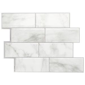 Smart Tiles Smart Tiles 4-Pack Gray Marble Mixed pattern Resin (Common: ; Actual: x 11.56-in)
