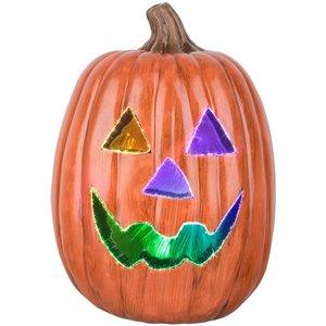 Gemmy 12-in Blowmold Pumpkin-Fiber Optic-Traditional Face (OPG)