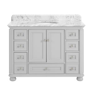 Scott Living Wrightsville Gray 48-in Undermount Single Sink Bathroom Vanity with Natural Marble Top