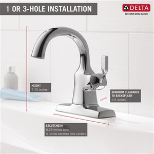 DELTA Sawyer Chrome 1-Handle Single Hole 4-in Centerset WaterSense Bathroom Sink Faucet with Drain