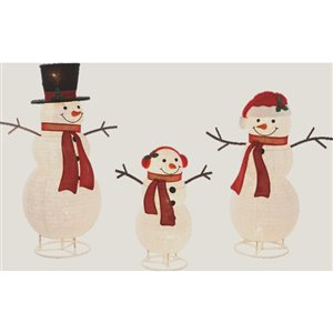 Holiday Living Set Of 3 Pop Up Snowman Family Sculpture