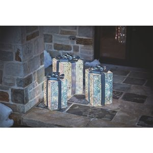 Holiday Living Set Of 3 LED Gift Box