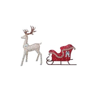 Holiday Living Set Of 2 Rattan Look Standing Buck and Sleigh Sculpture