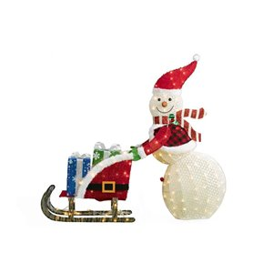 Holiday Living 41in Height 70L fabric snowman with 24in Height 70L fabric sled and gift box