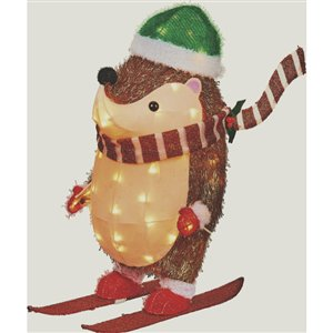 Holiday Living 28in Height 50L fabric skiing hedgehog