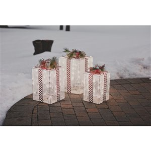Holiday Living 3pk 23in,21in,18in 180L glitter cotton thread wrapping gift box
