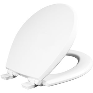 Mayfair Kendall Round Enameled Wood Toilet Seat in White with STA-TITE Seat Fastening System