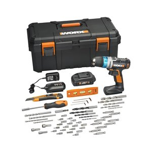 WORX Worx 20V Advanced Intelligence Technology Drill with Accessory Kit and Storage Box