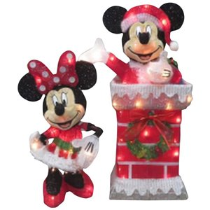 Disney 3D Holiday Lighted Tinsel Sculpture-Mickey Minnie Chimney Scene-Disney (Lowe's)