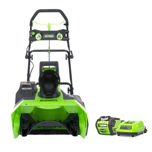 Greenworks 20-in 40V Cordless Snow Thrower with 4.0 AH Battery