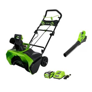 Greenworks 40V 20-in Snow Thrower and Axial Blower with 1 x 4.0 AH Battery and Charger