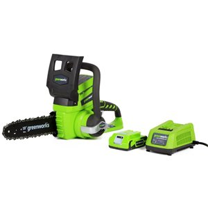 Greenworks 24-Volt Lithium Ion 10-in Cordless Electric Chainsaw w/1 x 2.0Ah Battery and Charger