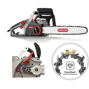 Oregon Corded CS1500 15 Amp Self Sharpening Electric Chainsaw, Grey/Black