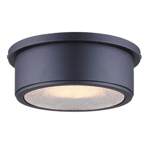 Canarm 1 Light Taye Outdoor Flush Mount, Matte Black Finish, Textured Glass, 1 x 60W Type A Bulb (Not Included), Easy Connect Technology Included