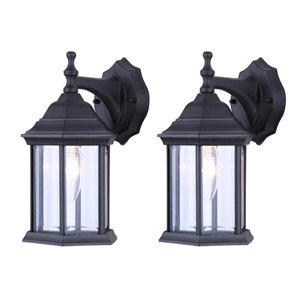 Canarm 1 Light Foster Twin Pack Outdoor Wall Lights, Matte Black Finish, Clear Beveled Glass Panels, 1 x 60W Type B or 1 x 100W Type A Bulb Per Light (Not Included)