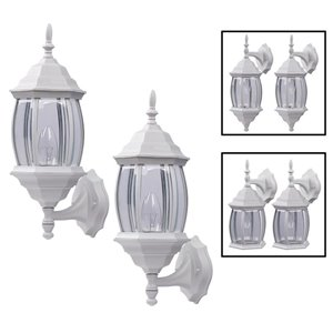 Canarm 1 Light Portland Twin Pack Outdoor Wall Lights, White Finish, Clear Beveled Glass Panels, 3 Mounting Options, 1 X100W Type A Bulb Per Light (Not Included)