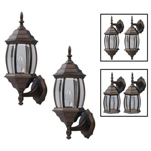 Canarm 1 Light Portland Twin Pack Outdoor Wall Lights, Oil Rubbed Bronze Finish, Clear Beveled Glass Panels, 3 Mounting Options, 1 X100W Type A Bulb Per Light (Not Included)