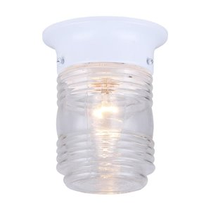 Canarm 1 Light Outdoor Jam Jar Flush Mount, White Finish, Clear Glass, 1 x 60W Type A Bulb (Not Included)