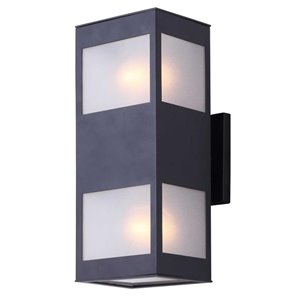 Canarm 2 Light Amando Outdoor Wall Light, Matte Black Finish, Frosted Glass, DOWNLIGHT, 1 x 60W Type A Bulb (Not Included)