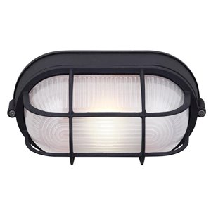 Canarm 1 Light Outdoor Marine Light, Black Finish, Frosted Glass, 1 x 60W Type A or B Bulb (Not Included)