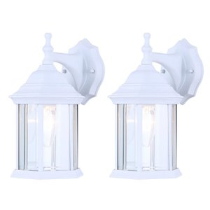 Canarm 1 Light Foster Twin Pack Outdoor Wall Lights, White Finish, Clear Beveled Glass Panels, 1 x 60W Type B or 1 x 100W Type A Bulb Per Light (Not Included)