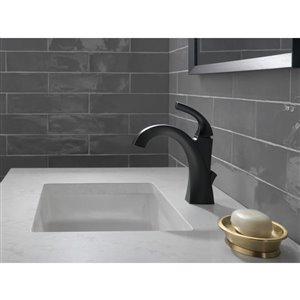 DELTA Downing Single Handle Centerset Bathroom Faucet in Matte Black