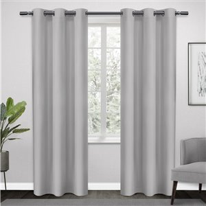 Design Decor Sateen Twill Weave RD 2 Panels 38-inx 84-in 6 Dull Silver Grommets Window Panels (1)