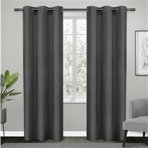 Design Decor Sateen Twill Weave RD 2 Panels 38-inx 84-in 6 Dull Silver Grommets Window Panels
